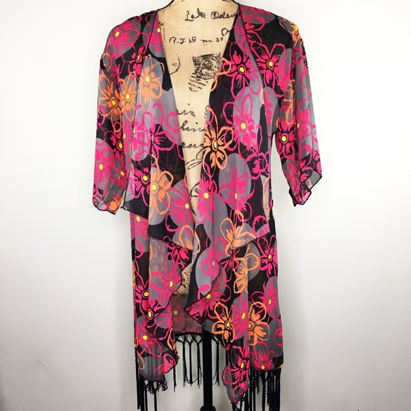 ee8097053b LuLaRoe Swim | Monroe Fringe Black Colorful Floral Kimono | Poshmark